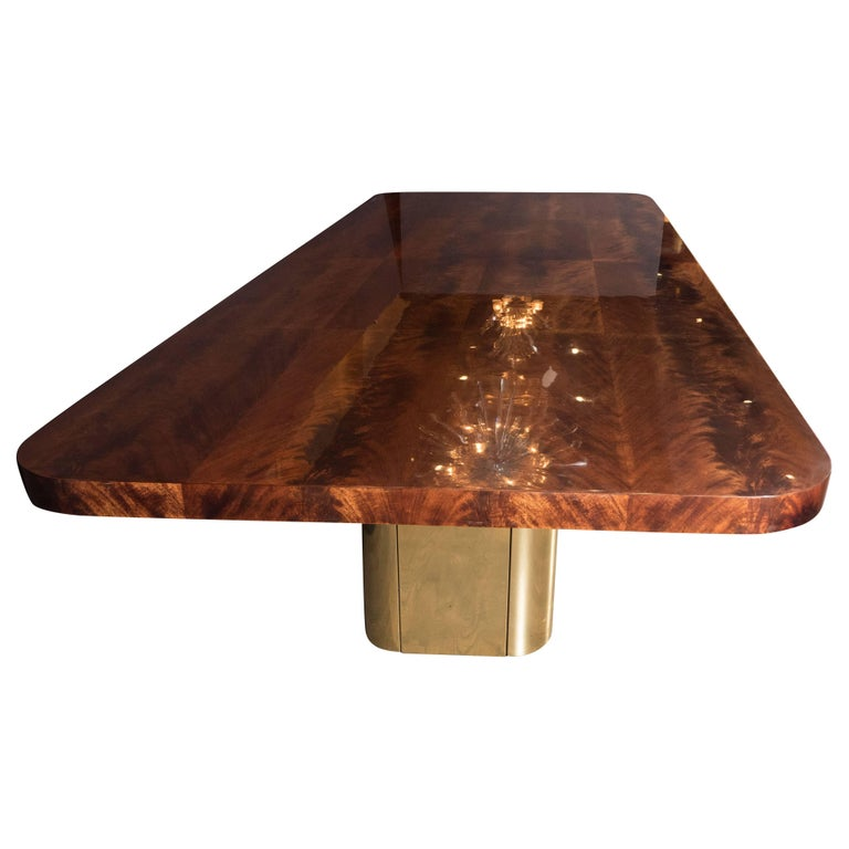 American Mid-Century Modern Bookmatched Walnut and Brass Custom Dining Table For Sale