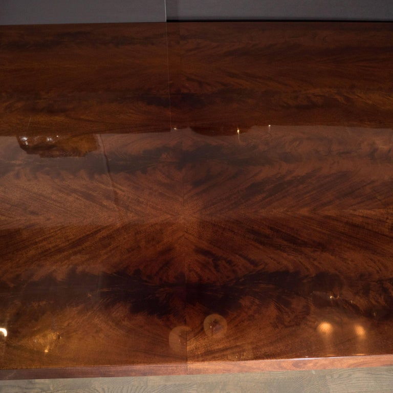 Mid-Century Modern Bookmatched Walnut and Brass Custom Dining Table For Sale 1
