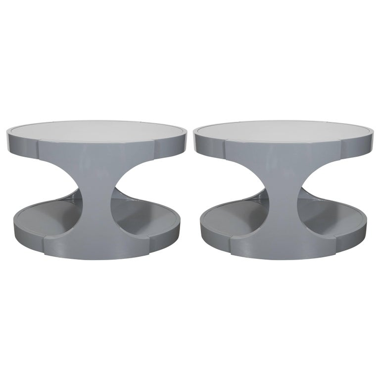 Pair of Graphic Modernist Gray Lacquered Two-Tiered Oval Side Tables