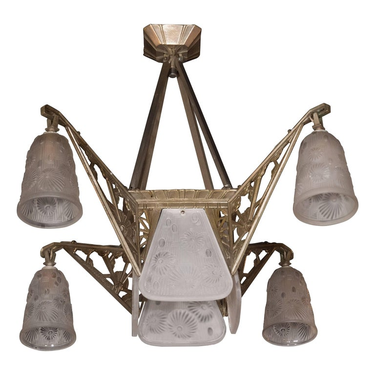 Cubist Art Deco Silvered Bronze & Relief Frosted Glass Chandelier by Daum Nancy