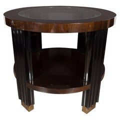 Art Deco Two Tiered Walnut and Black Lacquer Occasional Table with Brass Sabots