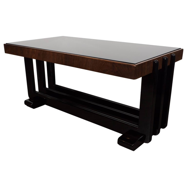 Streamline Deco Cocktail Table in Bookmatched Walnut, Black Lacquer & Vitrolite