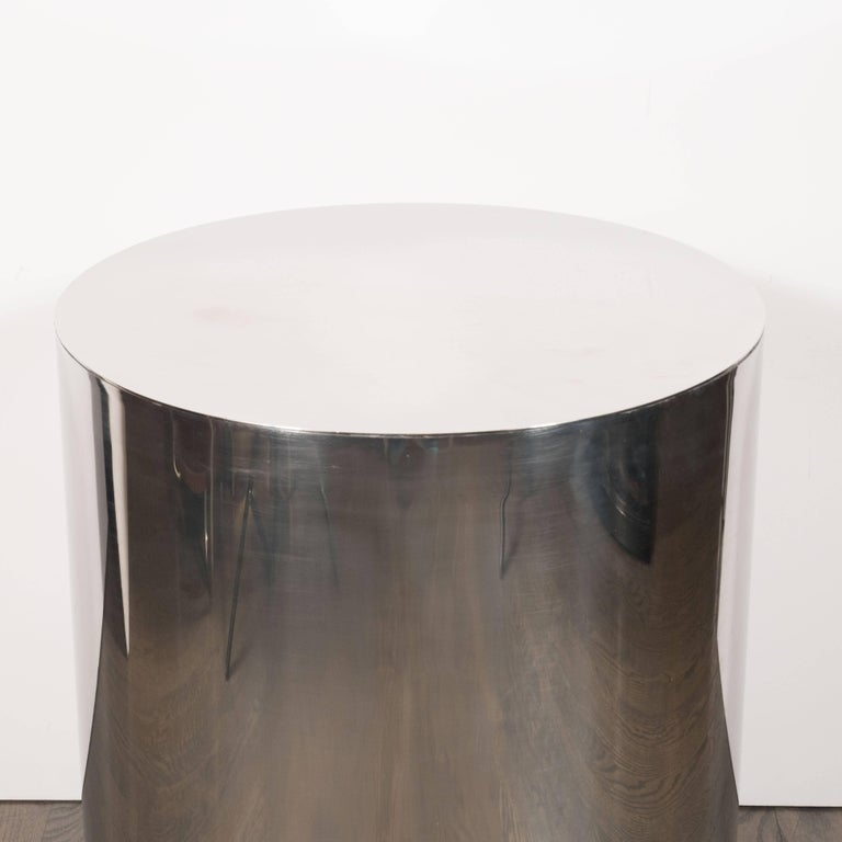 Late 20th Century American Mid-Century Modern Cylindrical Chrome Side Table or Pedestal For Sale