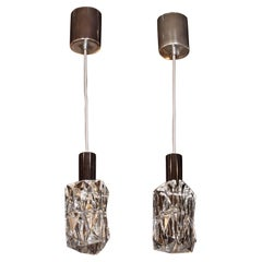 Pair of Mid-Century Modern Pressed Crystal Pendants by Kinkeldey