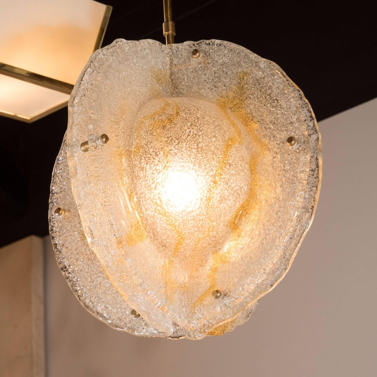 Brass Italian Mid-Century Modern Murano Globe Pendant with Amber Detailing by Mazzega For Sale