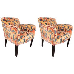 Pair of Donghia Armchairs in Vibrant Cubist Fabric by Pierre Frey