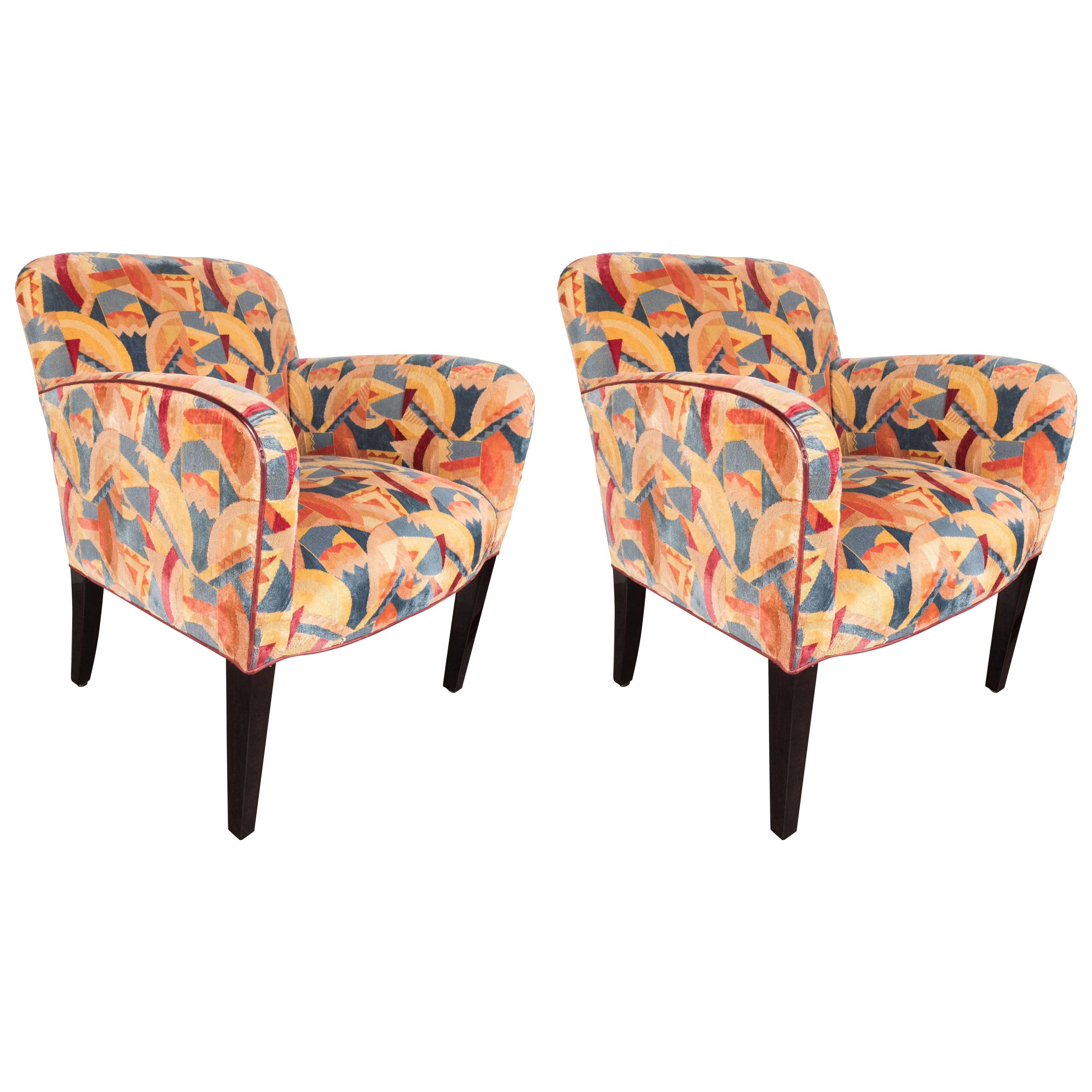 By Clarence House. Pair Of Donghia Armchairs In Vibrant Cubist Fabric By  Pierre Frey