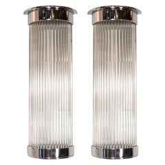 Pair of Art Deco Streamlined Machine Age Chrome and Glass Rod Sconces
