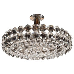 Mid-Century Modern Cut Crystal and Nickel Chandelier by Bakalowits & Sohne