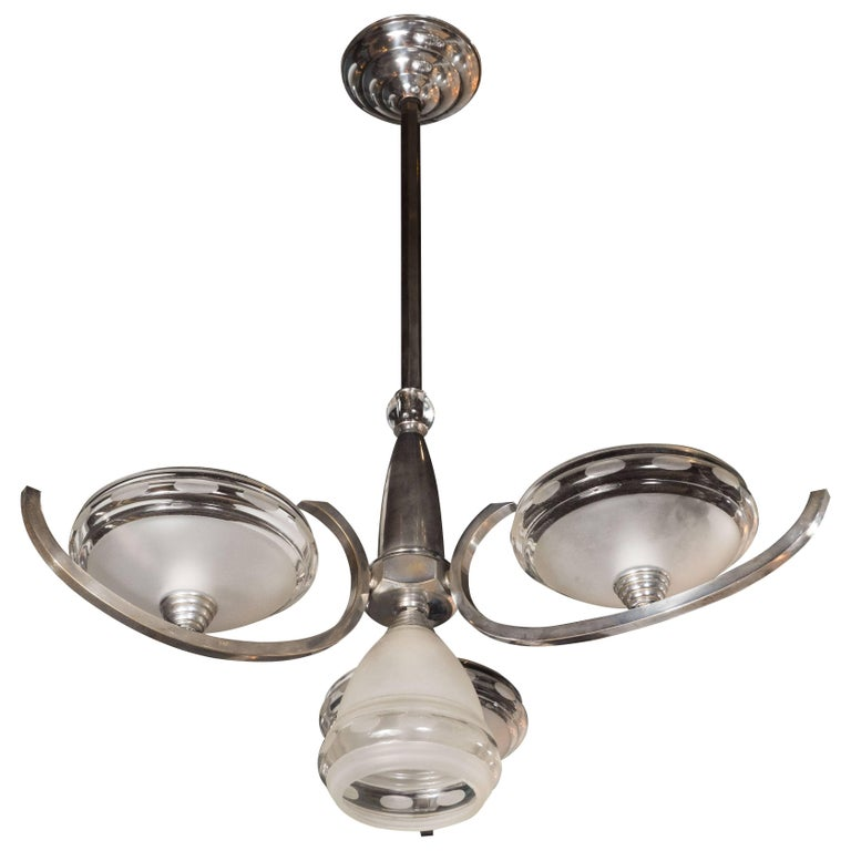 Art Deco Machine Age Style Chandelier in Chrome and Frosted Glass