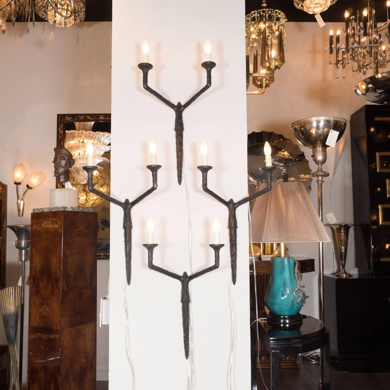 Set Of Four Sculptural And Patinated Bronze Sconces