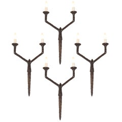 Set of Four Sculptural and Patinated Bronze Sconces, Manner of Diego Giacometti