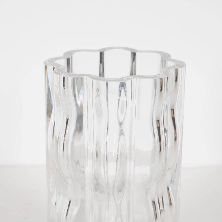 Swedish Mid-Century Modern Translucent Handblown Rippled Glass Vase by Orrefors  For Sale 1