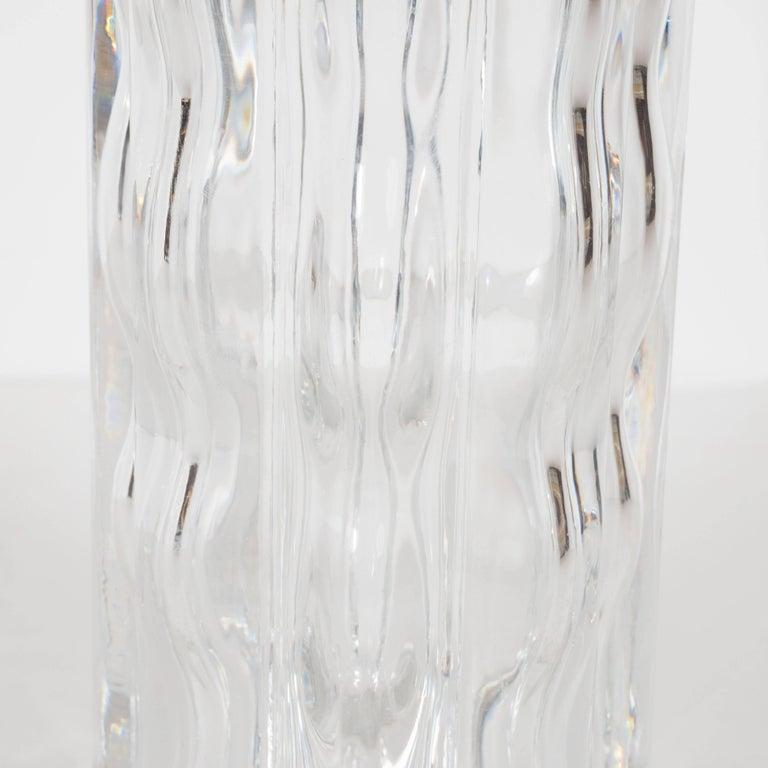 Swedish Mid-Century Modern Translucent Handblown Rippled Glass Vase by Orrefors  For Sale 3