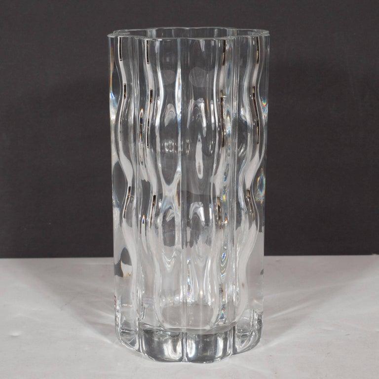 Blown Glass Swedish Mid-Century Modern Translucent Handblown Rippled Glass Vase by Orrefors  For Sale