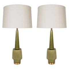 Pair of Mid-Century Modern Glazed Green Olive Ceramic and Brass Table Lamps