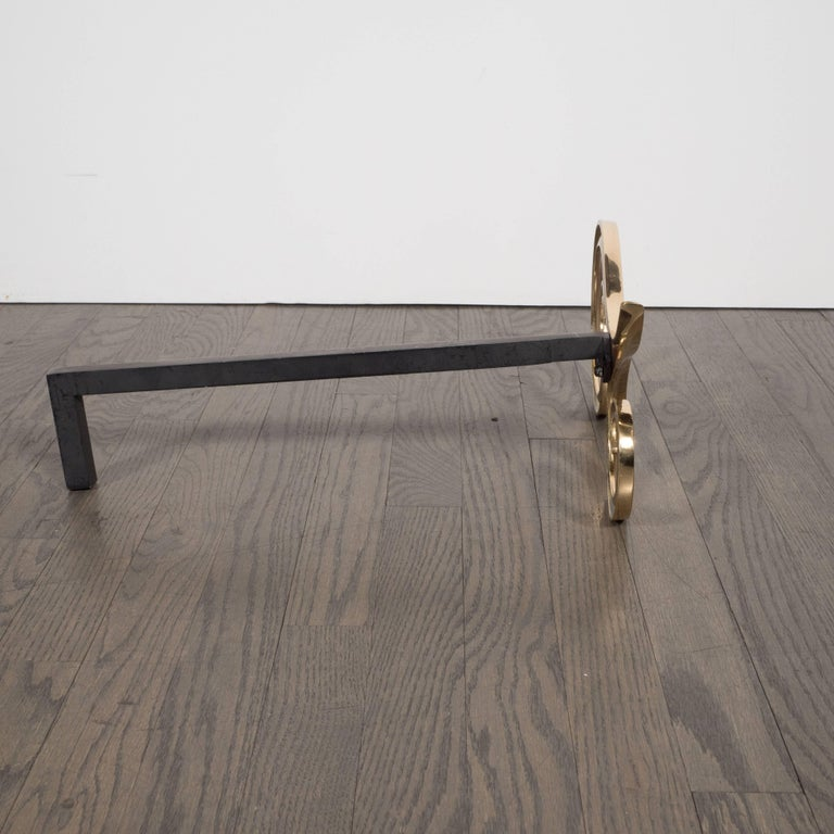 Modern Brass and Black Iron Scroll Form Andirons For Sale 2