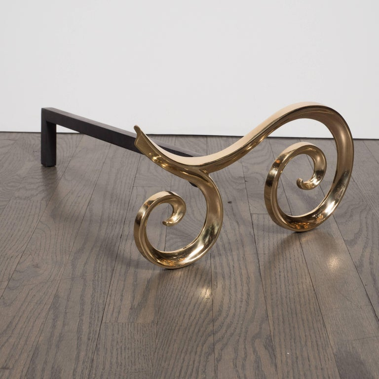 American Modern Brass and Black Iron Scroll Form Andirons For Sale