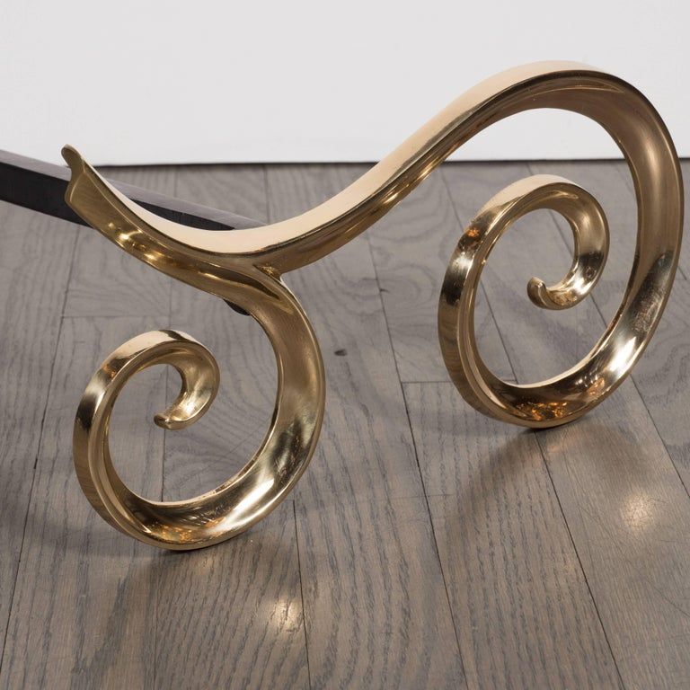 Modern Brass and Black Iron Scroll Form Andirons In Excellent Condition For Sale In New York, NY
