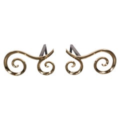 Modern Brass and Black Iron Scroll Form Andirons