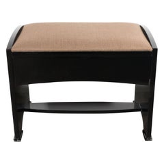 American Art Deco Bench in Black Lacquer with Textured Tawny Brown Upholstery