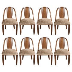 Set of Eight Art Deco Walnut Gondola Back Dining Chairs, Manner of Ruhlmann