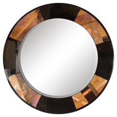 Circular Art Deco Revival Mirror in Black Lacquer with Patterned Acrylic Inlays