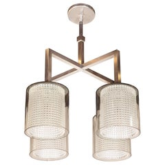 Scandinavian Mid-Century Modern Four-Arm Chandelier, Carl Fagerlund for Orrefors
