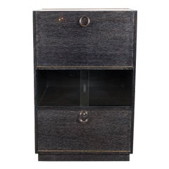 Mid-Century Modern Silver Cerused Oak Dry Bar with Nickeled Pulls