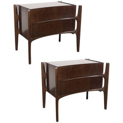 Pair of Mid-Century Modern Nightstands in Book-Matched Walnut by William Hinn