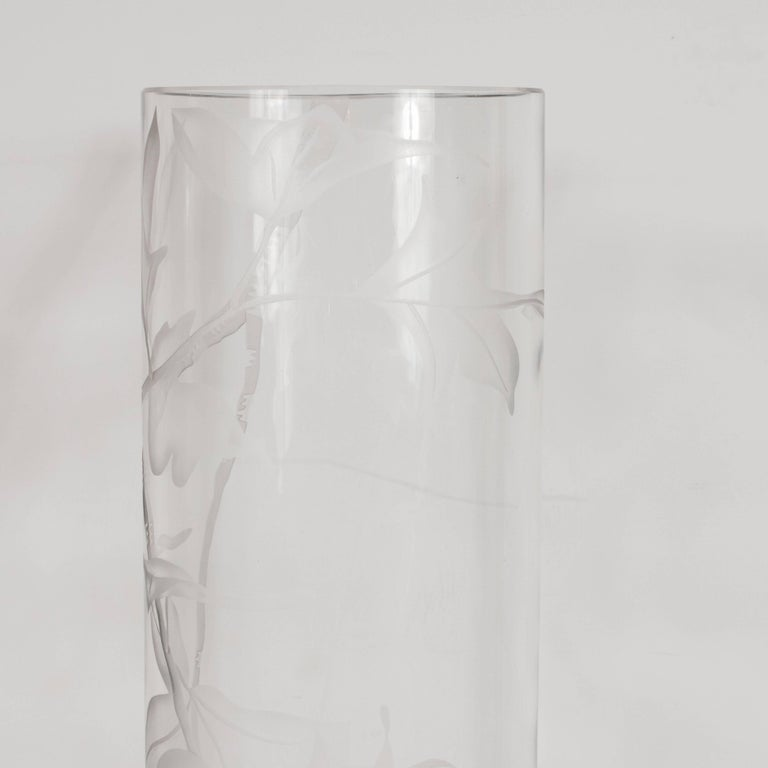 Mid-20th Century Art Deco Acid Etched Vase with Maple Leaf Motif by Dorothy Thorpe