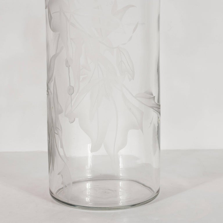 American Art Deco Acid Etched Vase with Maple Leaf Motif by Dorothy Thorpe