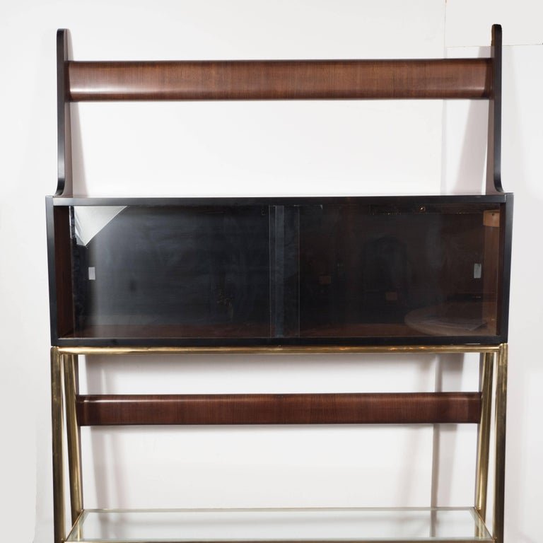sculptural italian mid century modern tag re in handrubbed walnut and brass for sale at 1stdibs. Black Bedroom Furniture Sets. Home Design Ideas