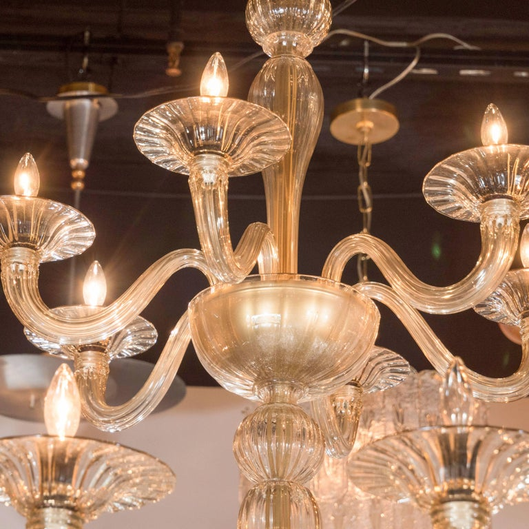 Mid 20th Century Midcentury Murano Eigh Arm Champagne Gl Chandelier By Barovier E Toso