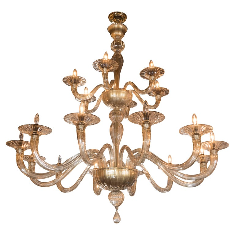 Midcentury Murano Eighteen-Arm Champagne Glass Chandelier by Barovier e Toso
