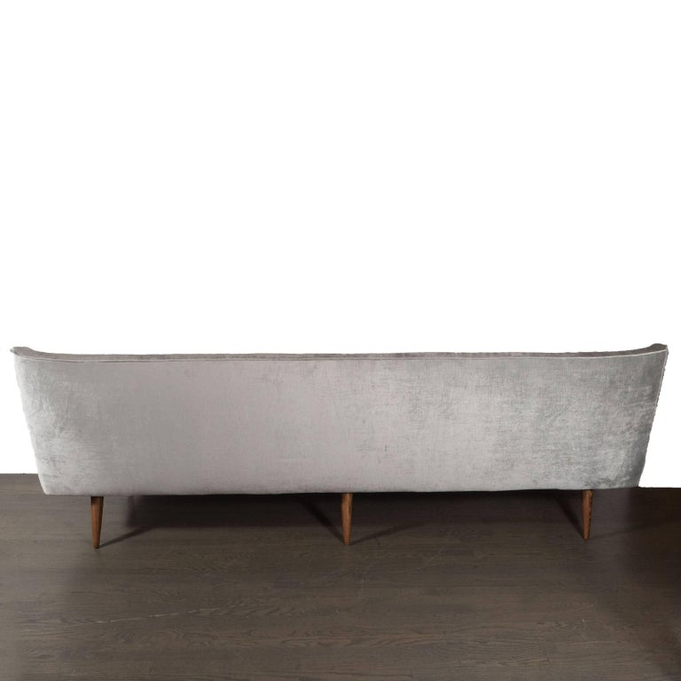 Mid-Century Modern Button Back Sofa with Tapered Hand Rubbed Walnut Legs In Excellent Condition For Sale In New York, NY