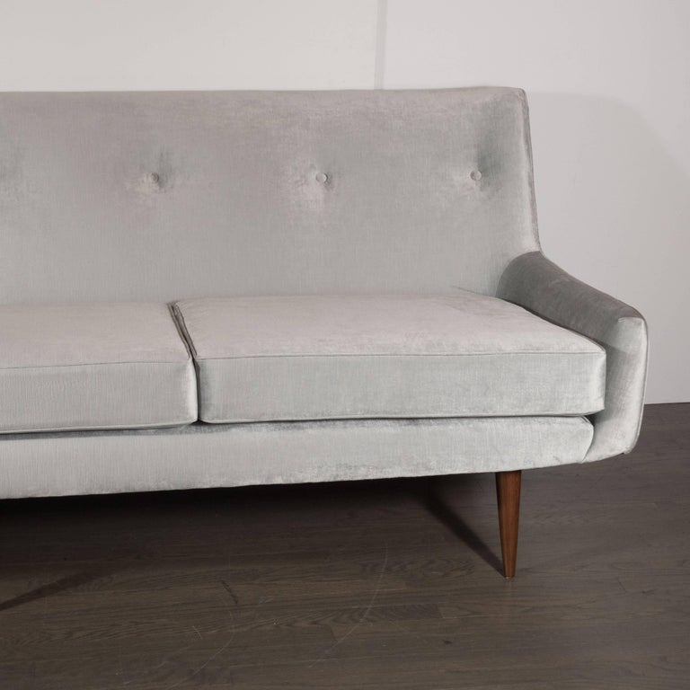 Mid-20th Century Mid-Century Modern Button Back Sofa with Tapered Hand Rubbed Walnut Legs For Sale