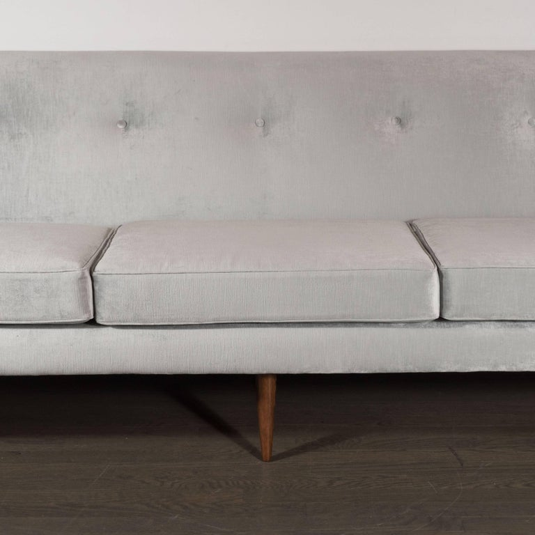 Velvet Mid-Century Modern Button Back Sofa with Tapered Hand Rubbed Walnut Legs For Sale