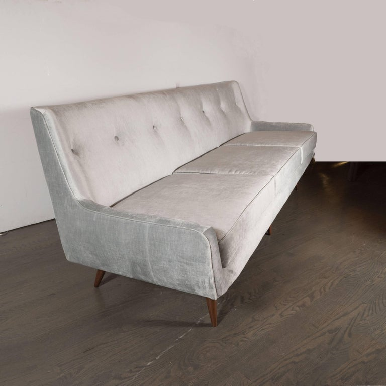 American Mid-Century Modern Button Back Sofa with Tapered Hand Rubbed Walnut Legs For Sale