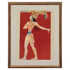 Modernist Print of a Greek Antiquities Pottery Fragment in Gilded Gallery Frame