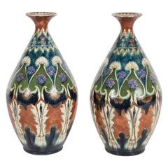 Pair of Art Deco Ceramic Royal Bonn Vases in Red Clay, Emerald & Oceanic Hues