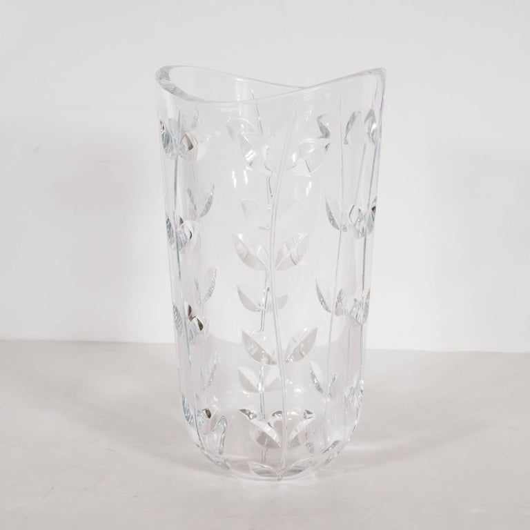 Large Modernist Crystal Vase With Incised Foliate Patterns By