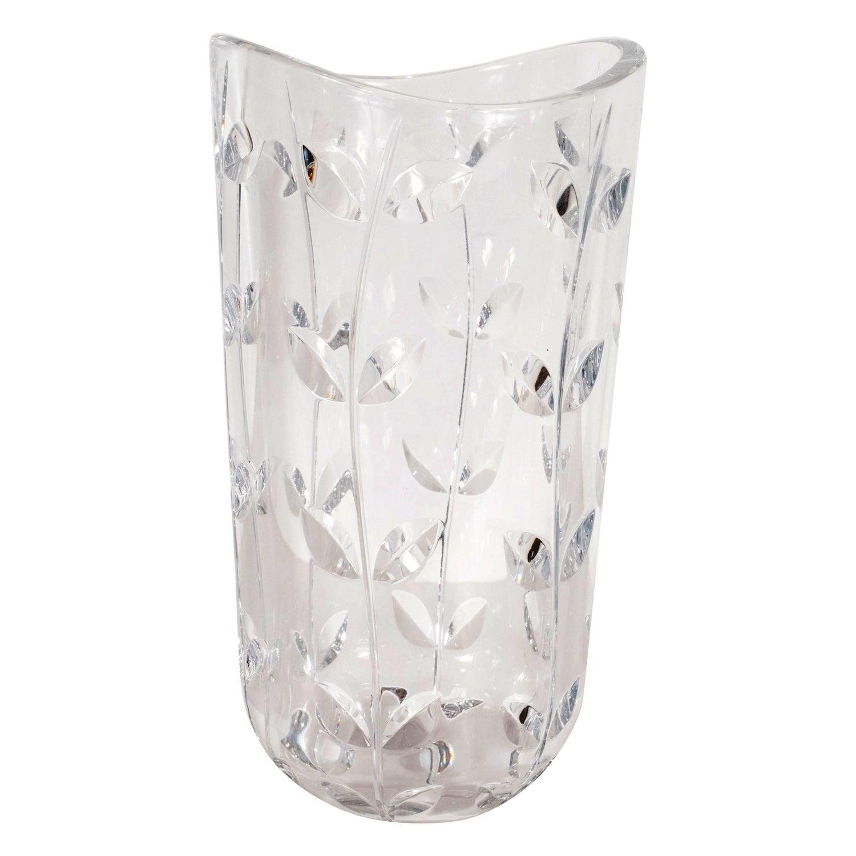 Large modernist crystal vase with incised foliate patterns by large modernist crystal vase with incised foliate patterns by tiffany and co for sale at 1stdibs reviewsmspy