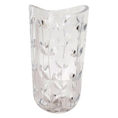 Large Modernist Crystal Vase with Incised Foliate Patterns by Tiffany & Co.