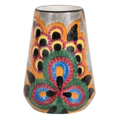 Art Deco Hand-Painted Schramberg SMF Vase with Vibrant Abstract Patterns