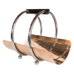American Art Deco Machine Age Log Holder in Chrome and Copper by Leslie Beaton