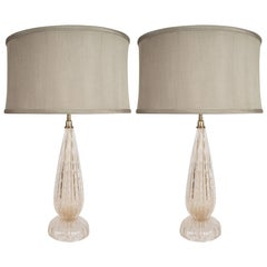Modernist Handblown Murano Table Lamps in Glass and Brass, 24-karat Gold Flecks