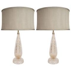 Modernist Handblown Murano Table Lamps in Glass and Brass, 24-karat Gold Flecks