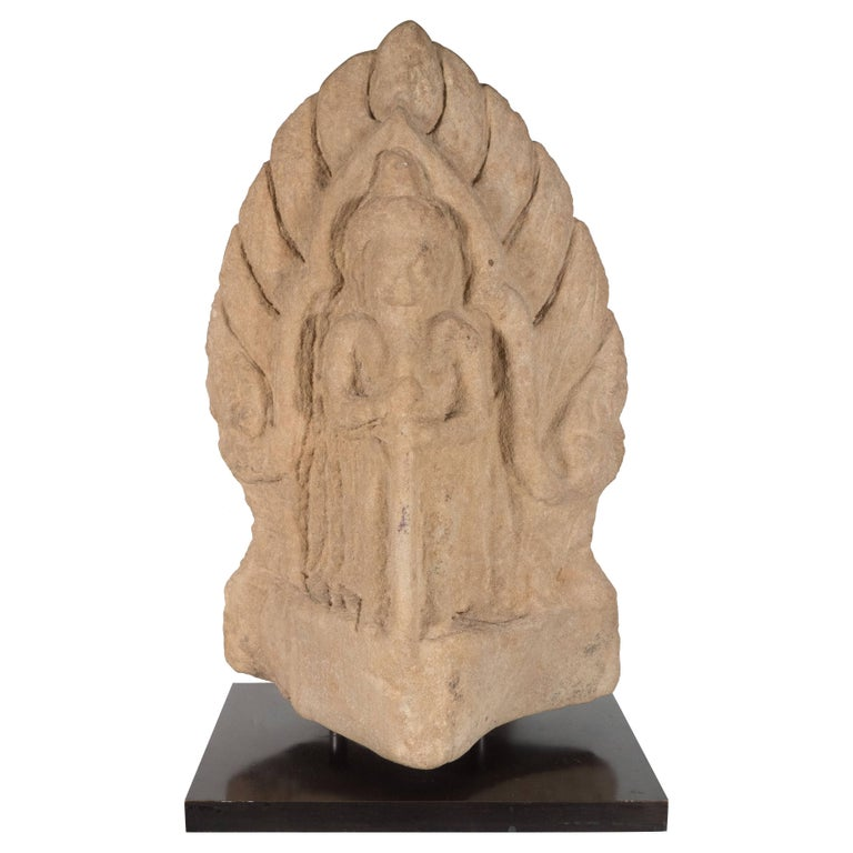 Antique Indian Hand-Carved Limestone Temple God with Lotus Leaf Motif For Sale