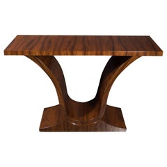 French Art Deco Bookmatched Walnut Urn Form Console Table